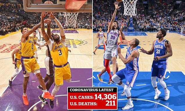 Two LA Lakers players and three Philadelphia 76ers stars are confirmed to have coronavirus