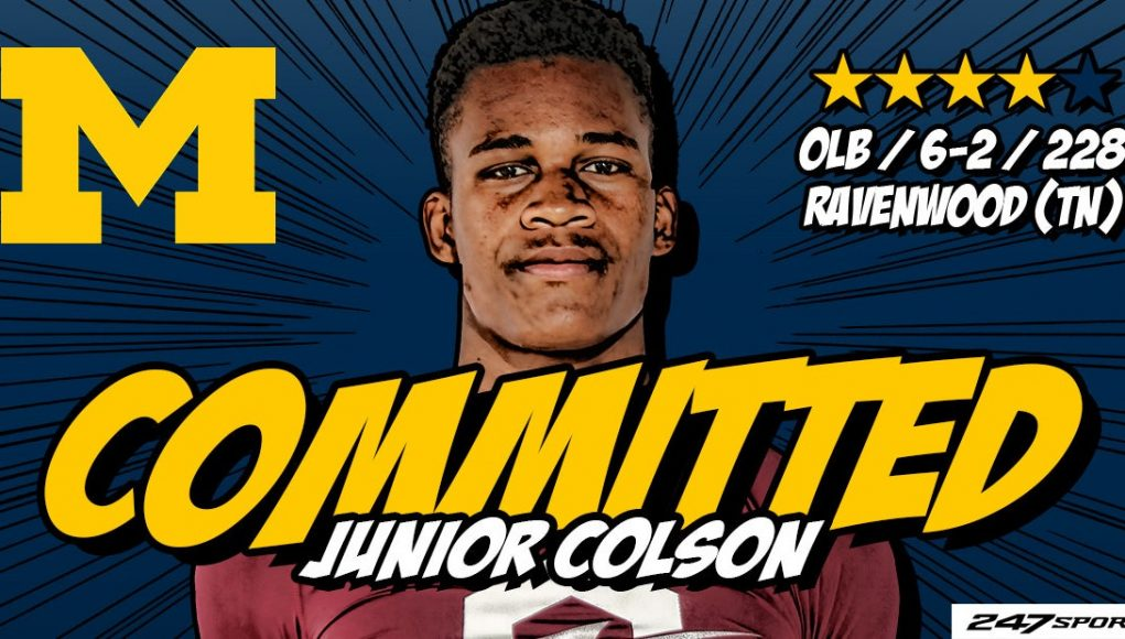 Top247 LB Junior Colson commits to Michigan Wolverines