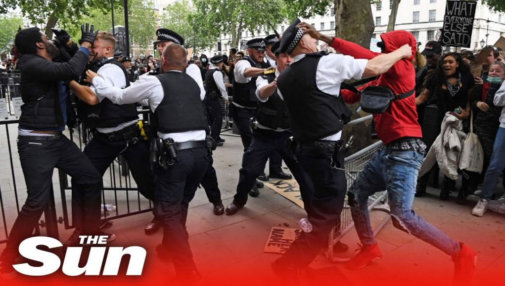 Police officer punched in scuffles outside Downing Street at Black Lives Matter protest in London