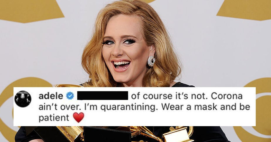 "Adele Isn't Releasing Her Next Album Any Time Soon 'Cause ""Corona Ain't Over,"" And Wants Us All To Remember To Wear Masks"