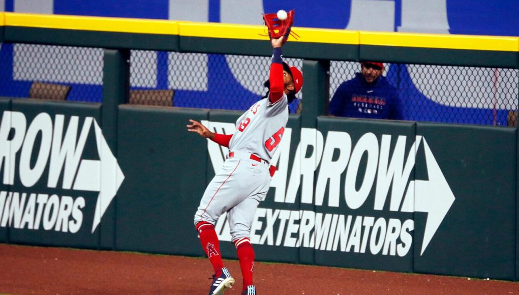 Angels rookie Jo Adell has nightmare moment as fly ball pops out of his glove and over right field wall