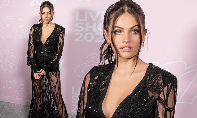 Thylane Blondeau, 19, puts on a leggy display in racy sheer sequinned gown